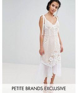 Jarlo Petite | Ажурное Платье На Бретелях С Шифоновым Подолом