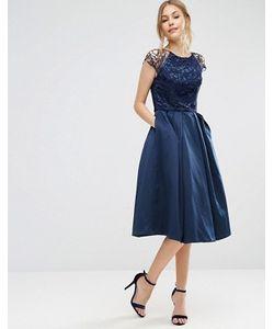 Chi Chi London   Платье С Короткими Кружевными Рукавами И Пышной Юбкой