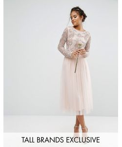 Maya Tall | Satin Waist Midi Full Tulle Skirt With Bow Back
