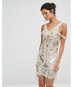 Frock and Frill | Платье Мини С Бахромой И Бисерной Отделкой Premium