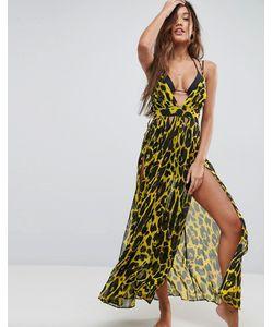 Asos | Шифоновое Пляжное Платье Макси С Глубоким Вырезом И Гепардовым Принтом