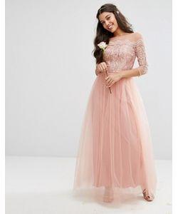 Chi Chi London   Кружевное Платье Макси С Юбкой Из Тюля Premium
