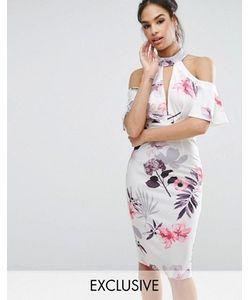 Ginger Fizz | Cold Shoulder Midi Dress With Plunge Front