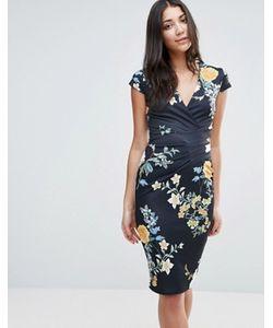 Jessica Wright | Платье-Футляр С Vобразным Вырезом И Цветочным Принтом