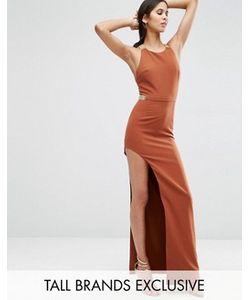 True Decadence Tall | Платье Макси С Разрезом Сбоку И Металлической Отделкой