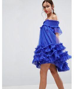 Asos | Платье Мини Из Тюля Со Спущенными Плечами И Сборками