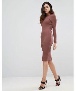 Asos | Облегающее Платье Миди В Рубчик С Длинными Рукавами
