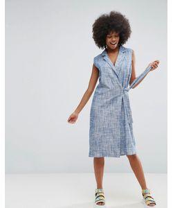 ASOS Made In Kenya   Платье С Запахом Из Ткани Шамбре