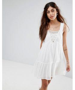 Vila | Свободное Ярусное Платье С Кружевной Отделкой