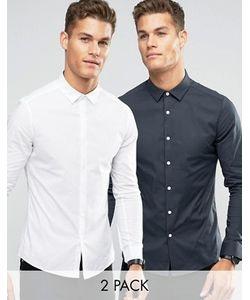 Asos | 2 Рубашки Скинни Белая И Темно-Серая Скидка