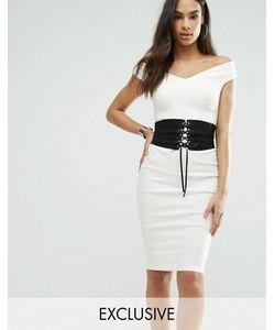 Vesper | Платье-Футляр С Корсетом И Открытыми Плечами