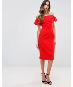 Asos   Платье Миди С Открытыми Плечами Из Натуральных Волокон