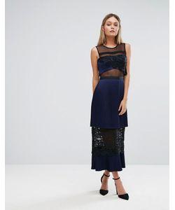 THREE FLOOR | Двухъярусное Платье Миди С Кружевными Вставками