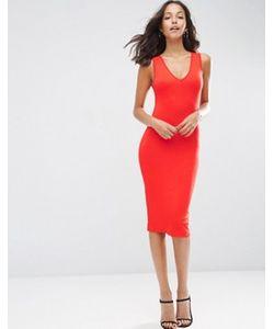 Asos | Облегающее Платье Миди С Глубоким V-Образным Вырезом