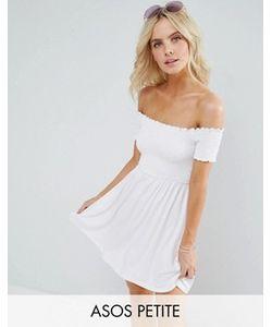 ASOS PETITE | Легкое Присборенное Платье С Открытыми Плечами