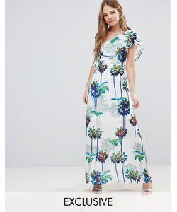 Every Cloud   Hazey Palm Print One Shouder Maxi Dress