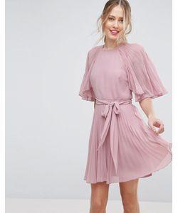 Asos | Плиссированное Платье Мини С Короткими Рукавами-Бабочка