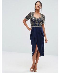 Virgos Lounge | Декорированное Платье Миди С Юбкойтюльпан
