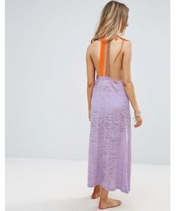 Pitusa | Embroidered Beach Back Maxi Dress