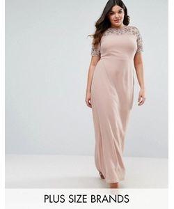 Lovedrobe Luxe | Декорированное Платье Макси С Шифоновой Юбкой