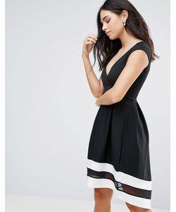 Jessica Wright | Короткое Приталенное Платье С Короткими Рукавами И Контрастной Отделкой