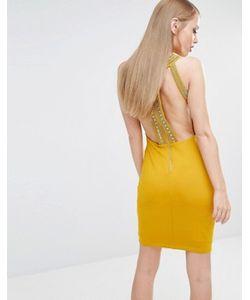 TFNC | Облегающее Платье Мини С Высокой Горловиной И Золотистой Отделкой