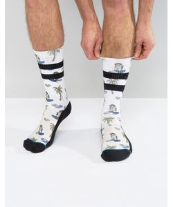 Stance | Surfin Monkey Socks With Palm Tree Print And Stripe In