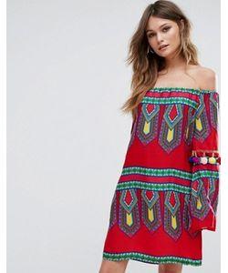 boohoo | Платье С Открытыми Плечами И Отделкой Помпонами