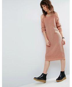 Asos | Вязаное Платье Миди С Вырезами На Плечах
