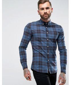 Asos | Темно-Синяя Рубашка Скинни В Клетку