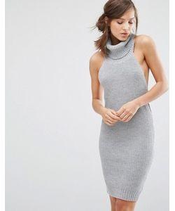 Parallel Lines   Платье-Джемпер Без Рукавов С Высоким Отворачивающимся Воротом