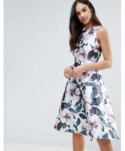 AX Paris | Приталенное Платье Длины Миди С Цветочным Принтом