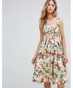 Vesper | Приталенное Платье Миди С Цветочным Принтом В Винтажном Стиле