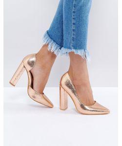 Public Desire | Туфли-Лодочки Цвета Розового Золота На Блочном Каблуке