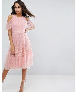 Needle & Thread | Платье Миди С Вышивкой И Открытыми Плечами