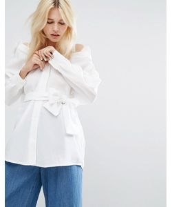 J.O.A | Oversize-Блузка С Открытыми Плечами И Завязкой На Талии