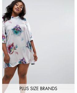 Elvi   Платье С Высоким Воротом И Цветочным Принтом Размера Плюс