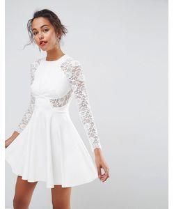 Asos | Короткое Приталенное Платье С Кружевными Рукавами Premium