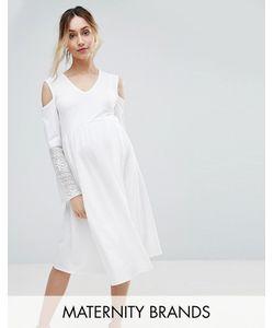 Bluebelle Maternity | Платье С Открытыми Плечами И Кружевными Рукавами