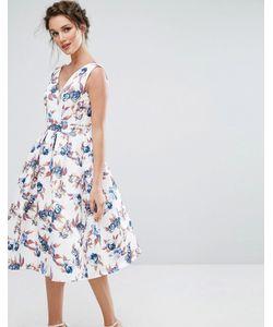 Chi Chi London | Платье Миди С V-Образным Вырезом И Юбкой-Солнце