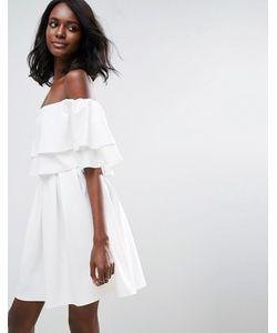 Asos | Платье Мини С Открытыми Плечами И Оборками