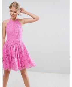 Asos | Кружевное Платье Мини Для Выпускного С Фестонными Краями