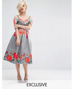 Horrockses | Платье Миди С Открытыми Плечами И Принтом