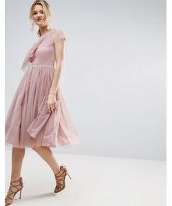 Asos | Платье Миди На Одно Плечо Из Тюля