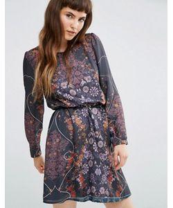 Lavand. | Платье В Цветочек С Длинными Рукавами И Ремнем Lavand