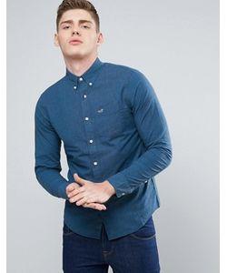 Hollister | Темно-Синяя Рубашка Узкого Кроя Из Эластичного Поплина С Логотипом