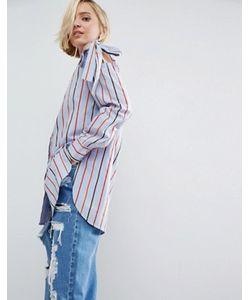 Asos | Хлопковая Рубашка В Полоску С Завязками На Плечах