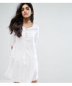 Noisy May Tall | Короткое Приталенное Платье Со Шнуровкой И Расклешенными Рукавами
