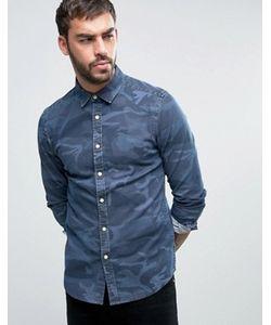 Asos | Джинсовая Рубашка Суперузкого Кроя С Камуфляжным Принтом