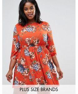 Koko | Короткое Приталенное Платье С Цветочным Принтом Plus